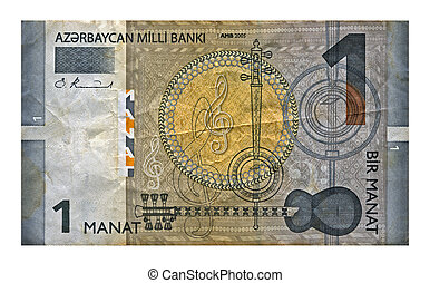 one manat (azerbaijan money) isolated on white background,...
