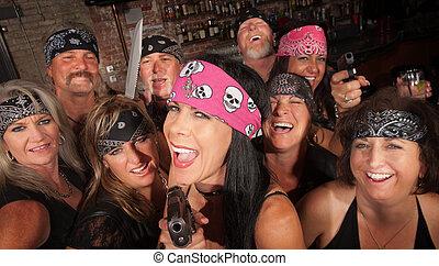 Laughing Gang Members in Bar - Laughing motorcycle gang...