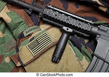 US Army Ranger Still Life - US Army Ranger Woodland Camo BDU...