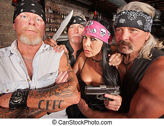 Four Tough Bikers in a Bar - Four tough motorcycle gang...