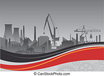 Industrial plant on a background of abstract backdrop