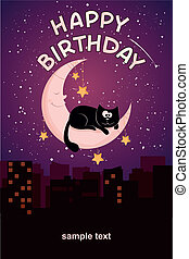 Birthday card with a cat and the moon
