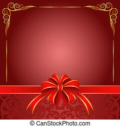 red background with ribbon and bow