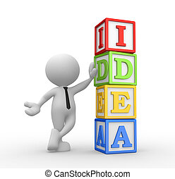 """Cubes - 3d people - man, person and cubes with """"idea"""""""