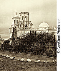 San Xavier Mission - Sepia tone old style image of Spanish...