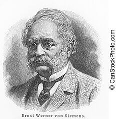Werner von Siemens - Picture from Meyers Lexicon books...