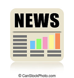 Newspaper icon with business news isolated on white...