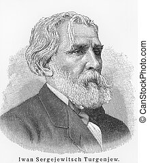 Ivan Turgenev - Picture from Meyers Lexicon books written in...