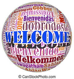 Welcome concept word in many languages of the world