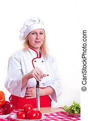 attractive woman cooks - Portrait of attractive cook woman,...