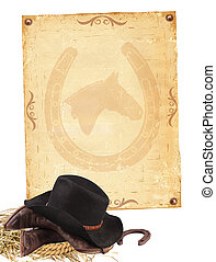 Western background with cowboy clothes and old paper...