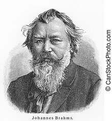 Johannes Brahms - Picture from Meyers Lexicon books written...