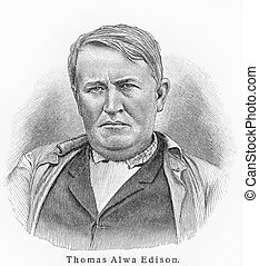 Thomas Edison old engraving - Vintage 19th century old...