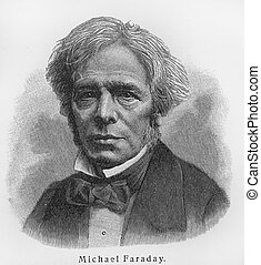 Michael Faraday old engraving - Vintage 19th century old...