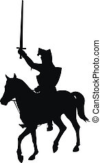 Vector horseman - Knight with sword riding on horseback...
