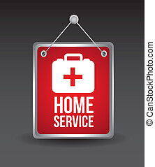 home service with medical box. vector illustration