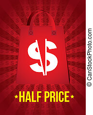 half price announcement over red background. vector...