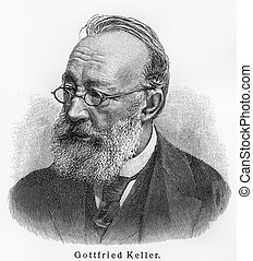 Gottfried Keller - Picture from Meyers Lexicon books written...