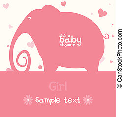 Baby girl card - Baby girl arrival announcement card.Vector...