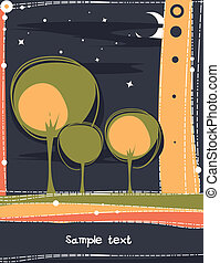 card with a stylized trees.