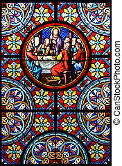 Nativity Scene. Stained glass window in the Cathedral of Basel, Switzerland