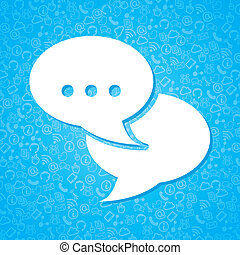 communication icons over blue background vector...