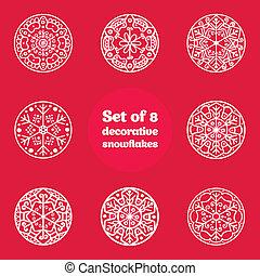 Set of 8 decorative snowflakes