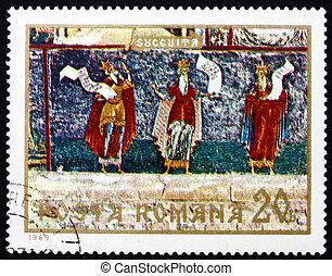 Franqueo, estampilla, rumania, 1969, tres, Profetas, fresco,...