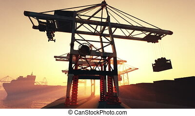 Industrial Port 1 - Industrial Port Sunset Sunrise 3D render