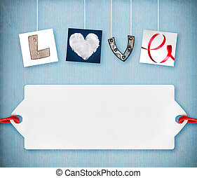 Love word made of four different objects, valentine's day...