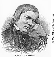 Robert Schumann - Picture from Meyers Lexicon books written...
