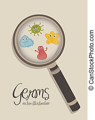 germs - cute germs over beige background vector illustration...