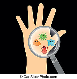 germs - cute germs with hand over black background. vector...