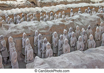 CHINA, XIAN - MAY 30: Terra cotta warriors excavation are...