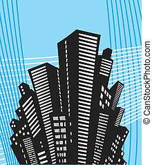 Urban style - Black silhouette of the city in urban style on...