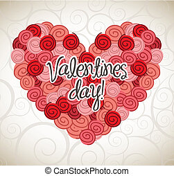 valentines day card over beige background. vector...