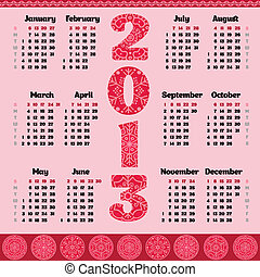 Vector calendar for 2013 year
