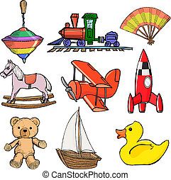 Set of toys - Set of sketch, cartoon illustration of toys