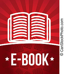 e book announcement over red background. vector illustration