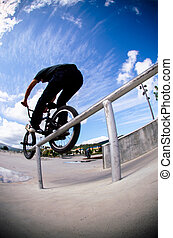 Double peg grind - Biker doing double peg grind down the...