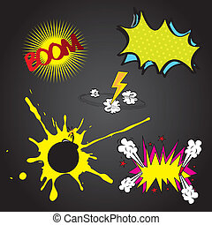 Boom comic - Set boom comic over black background vector...