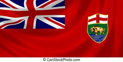 Flag of Canadian Manitoba Province waving in the wind detail