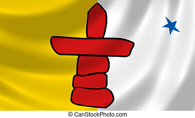 Flag of Canadian Nunavut territory waving in the wind detail