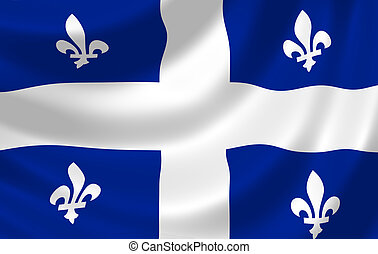 Flag of Canadian Quebec Province waving in the wind detail