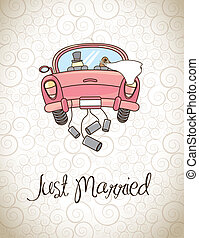 Just married over vintage background vector illustration
