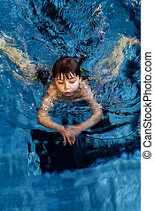 swimming boy - little boy on swimming lesson