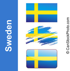 Flag Sweden isolated on white background vector