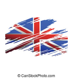 Flag Great Britain in the form traces brush isolated vector