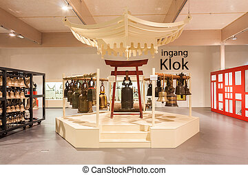 Bells on display in a museum