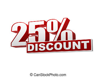 25 percentages discount red white banner - letters and block...